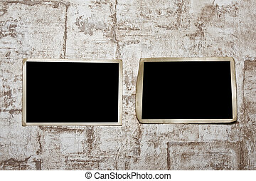 Photoframe  on  wall. - Vintage photo frame on wall