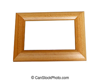 Photoframe - Wooden photoframe, isolated on white with...