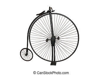 Photograph of genuine Penny Farthing, isolated on white