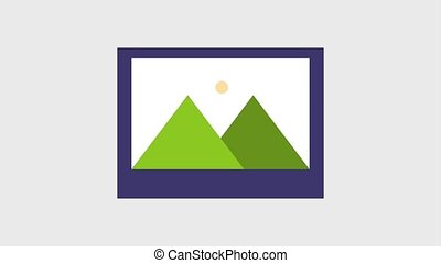 photograph of mountains and sun icons animation design