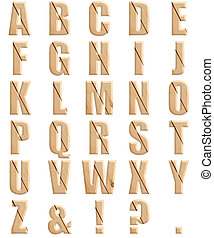 Photograph Wooden Texture Alphabet Font