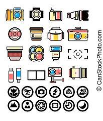 photographe, appareil photo, kit, éléments