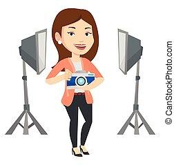 photographe, appareil photo, studio., photo