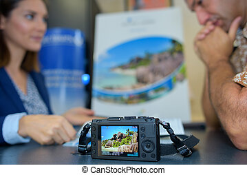 photographe, apprentissage, maître, jeune, femme