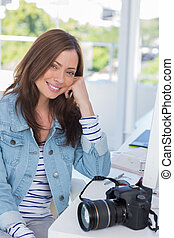 photographe, bureau, sourire