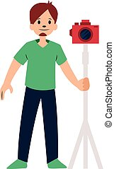 photographe, caractère, illustration, vecteur, fond, blanc, appareil photo, rouges