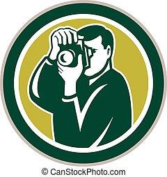 photographe, cercle, viser, appareil photo, retro
