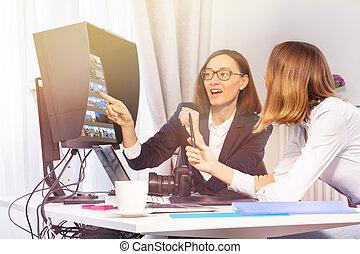 photographe, client, studio, choisir, photos