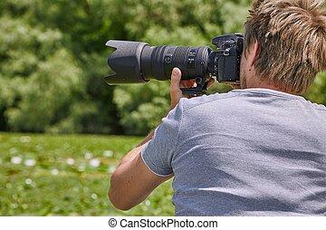 photographe, dans, nature
