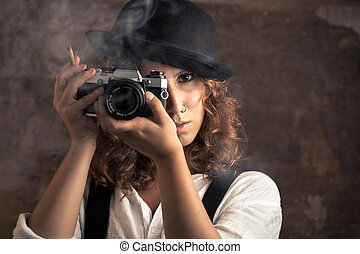 photographe, femme, cigare