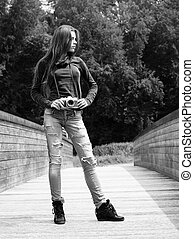 photographe, femme, jeune, dehors
