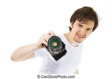 photographe, fond blanc