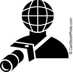 photographe, global, appareil photo, tenue