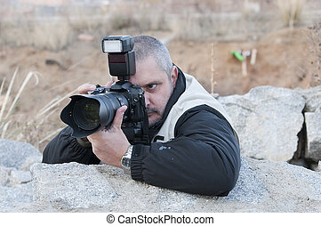 photographe, guerre, working.
