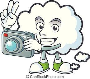 photographe, icône, pensée, bulle, conception, nuage