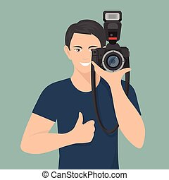photographe, illustration, plat