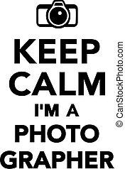 photographe, je suis, calme, garder