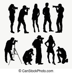 photographe, modèle, silhouettes
