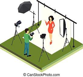 photographe, modèle, tir, studio