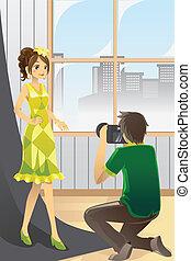 photographe, modèle