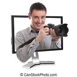 photographe, moniteur ordinateur
