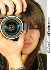 photographe, photographie, femme