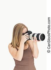 photographe, photographique, femme, appareil photo