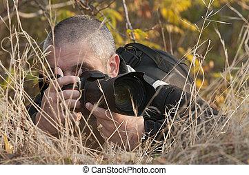 photographe, sien, pointage, appareil-photo.