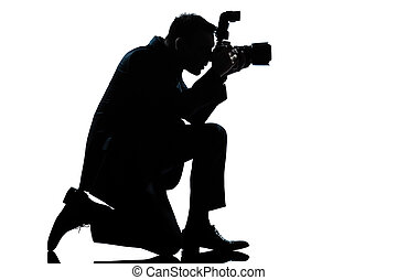 photographe, silhouette, agenouillement, homme