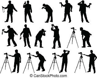 photographe, silhouettes