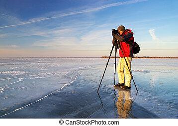 photographe, sur, travail