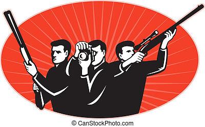 photographe, tireur, chasseur, appareil photo, fusil