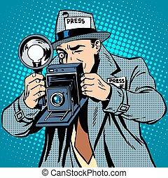 photographe, travail, paparazzi, appareil photo, média, presse
