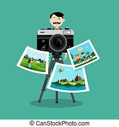 photographe, vecteur, conception, retro, images, appareil photo, imprimé