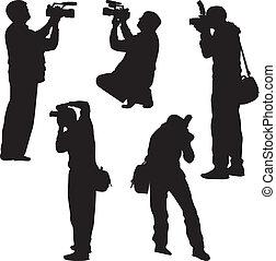 photographe, vecteur, silhouette