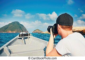 photographe, voyager, bateau