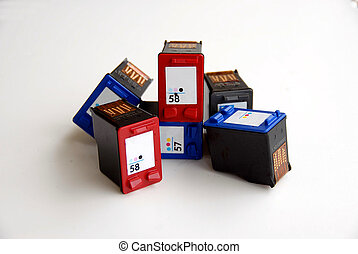photographed used ink cartridges for recycling.