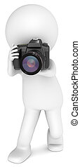 3D little human character The Photographer with a SLR Camera. Standing. People series.