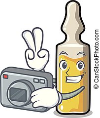 Photographer ampoule mascot cartoon style vector...
