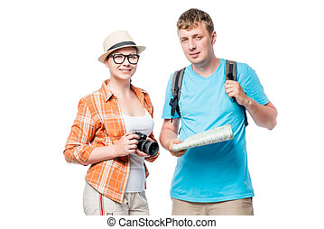 Photographer and tourist with a backpack on a white background