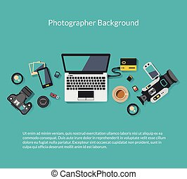 Photographer and videographer workspace vector creative background