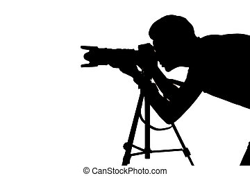 Photographer at work. Side view silhouette of man using tripod while shooting and standing isolated on white