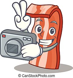 Photographer bacon mascot cartoon style vector illustration