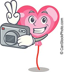 Photographer ballon heart mascot cartoon