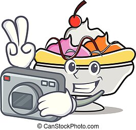 Photographer banana split mascot cartoon vector illustration