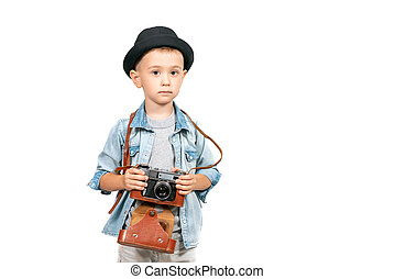 Photographer boy, child with vintage retro camera
