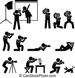 A set of pictograms representing photographer, cameraman, and paparazzi.
