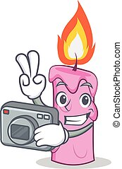 Photographer candle character cartoon style vector...