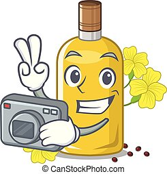 Photographer canola oil above the chair character vector ...