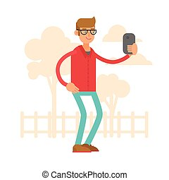 Vector illustration. A man is taking pictures of himself. Selfy. A cartoon character. Style flat.